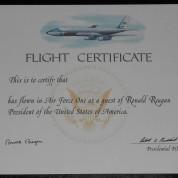 ReaganSignedAFFlightCert