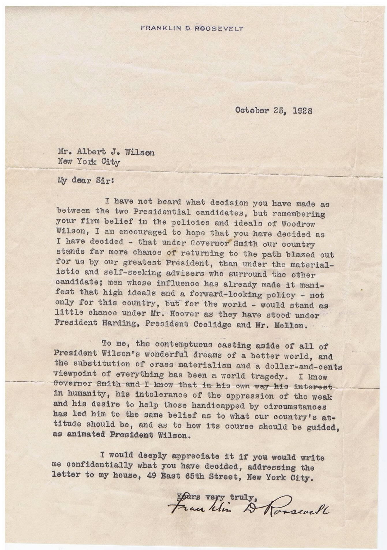FDR Personal Letter to a friend