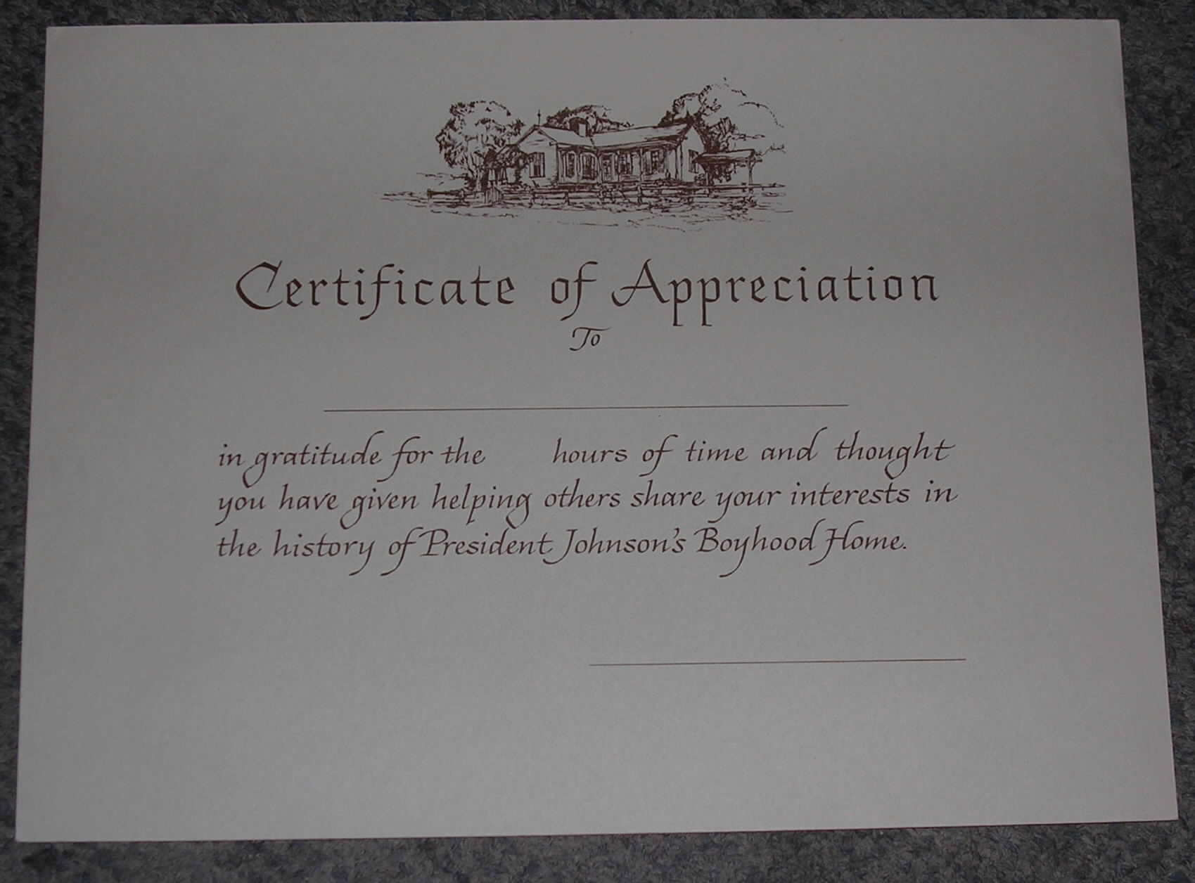 president johnson birthplace blank certificate of